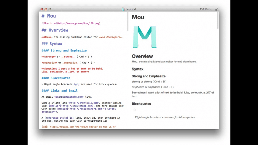 Mou for Mac - review, screenshots