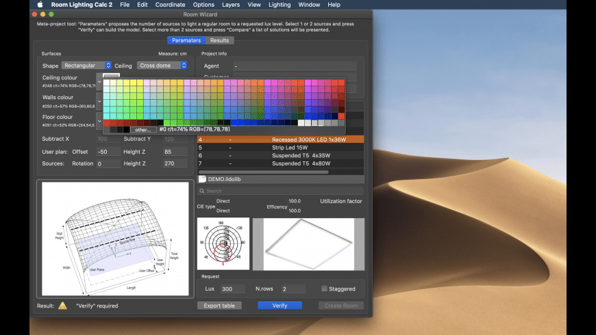 Room Lighting Calc for Mac - review, screenshots