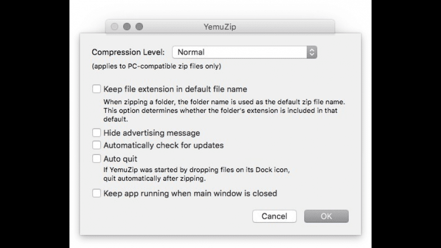 YemuZip for Mac - review, screenshots