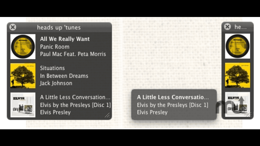 heads up 'tunes for Mac - review, screenshots
