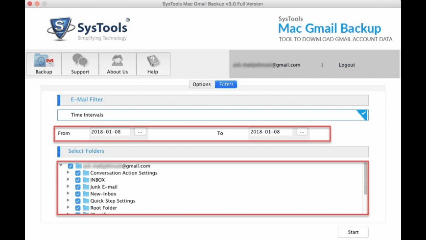 SysTools Gmail Backup for Mac - review, screenshots