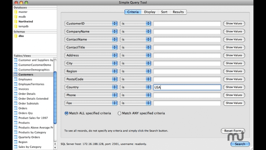 Simple Query Tool for Mac - review, screenshots