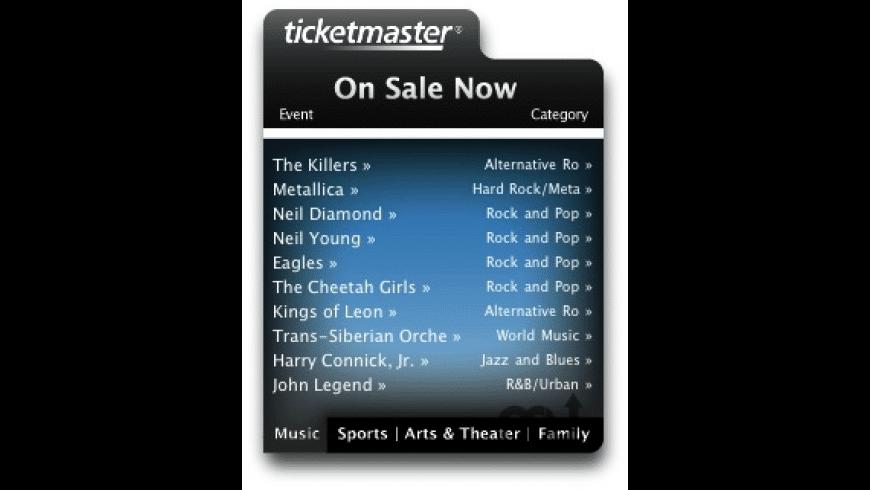 Ticketmaster Widget for Mac - review, screenshots