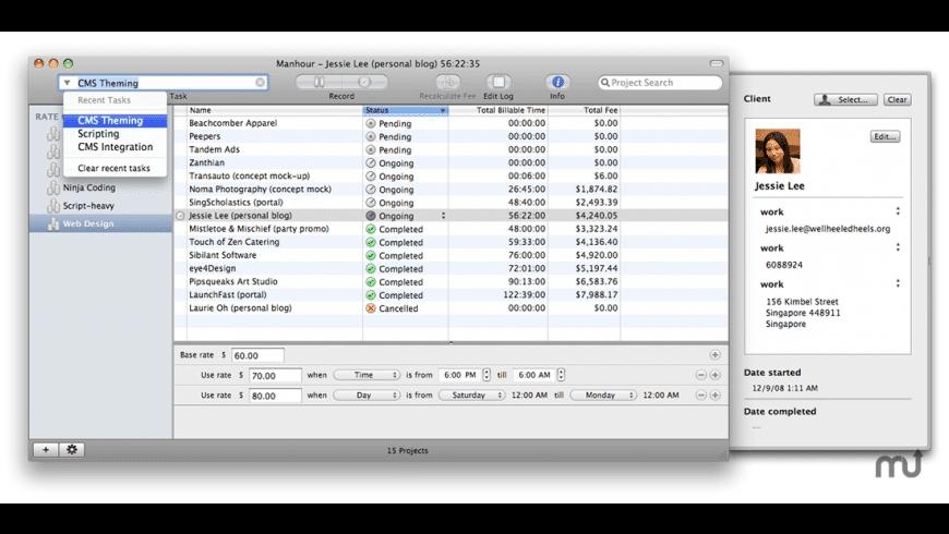 Manhour for Mac - review, screenshots