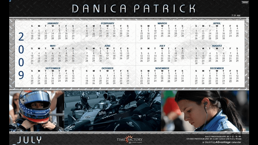 Danica Patrick Calendar 2009 for Mac - review, screenshots