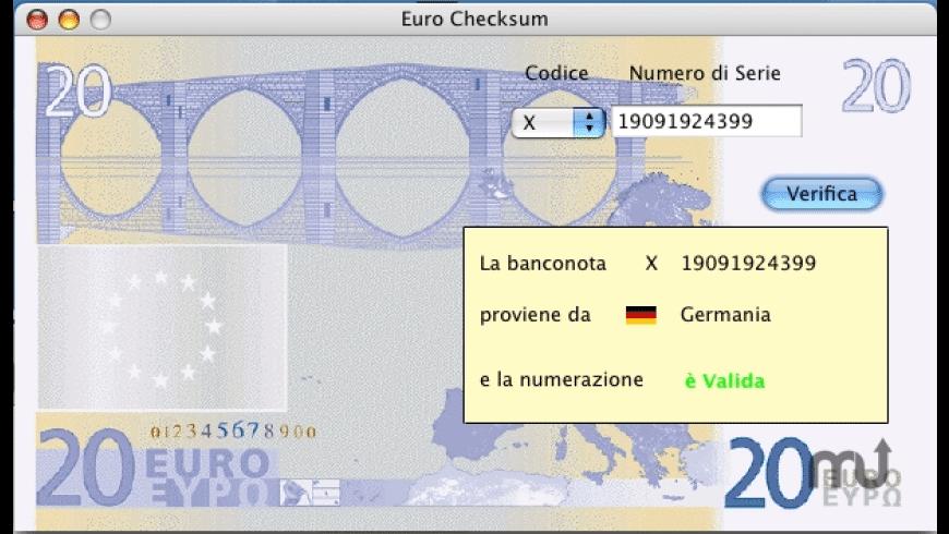 Euro Checksum for Mac - review, screenshots
