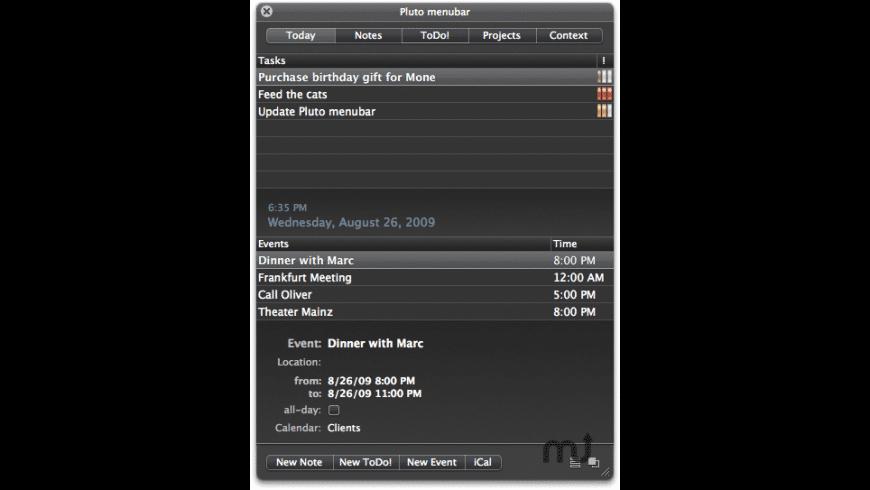 Pluto Menubar for Mac - review, screenshots