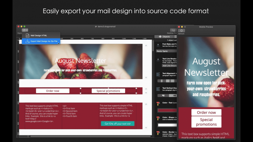 Dragon Email Designer 2 for Mac - review, screenshots