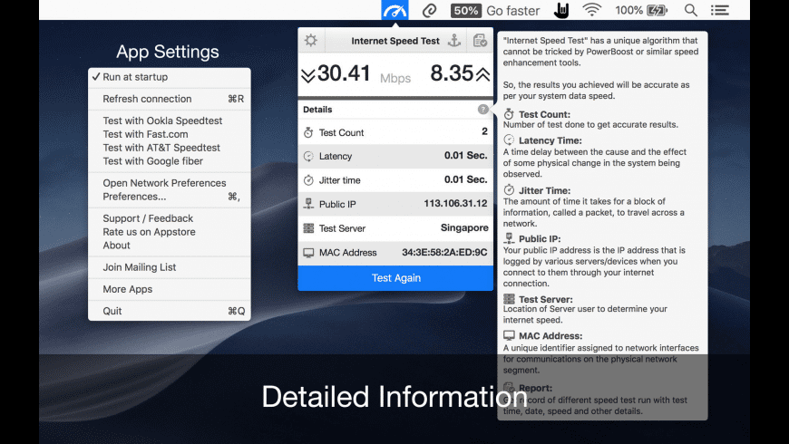 Internet Speed Test for Mac - review, screenshots