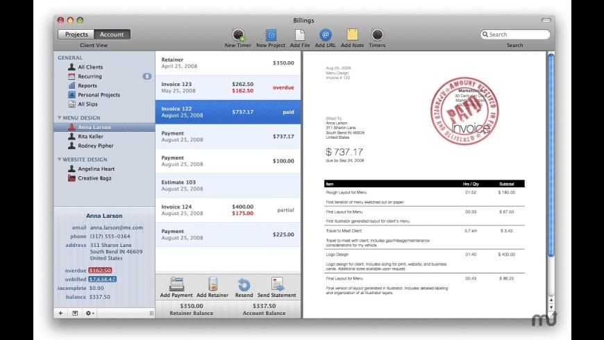 Billings for Mac - review, screenshots