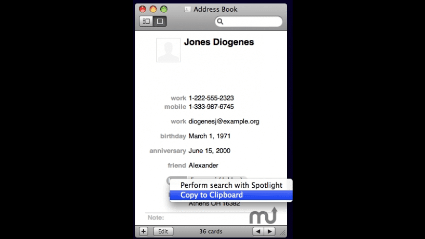 Address Book Copy to Clipboard for Mac - review, screenshots