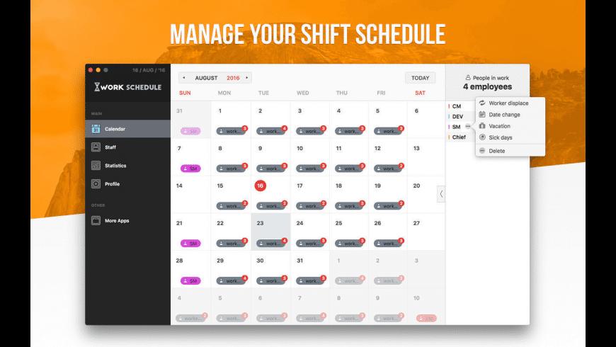 Work Schedule for Mac - review, screenshots
