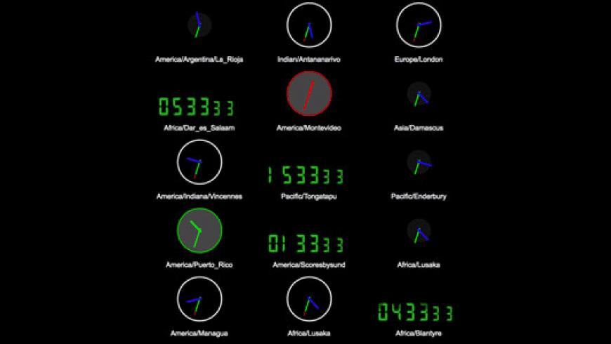 Time Zone Screen Saver for Mac - review, screenshots