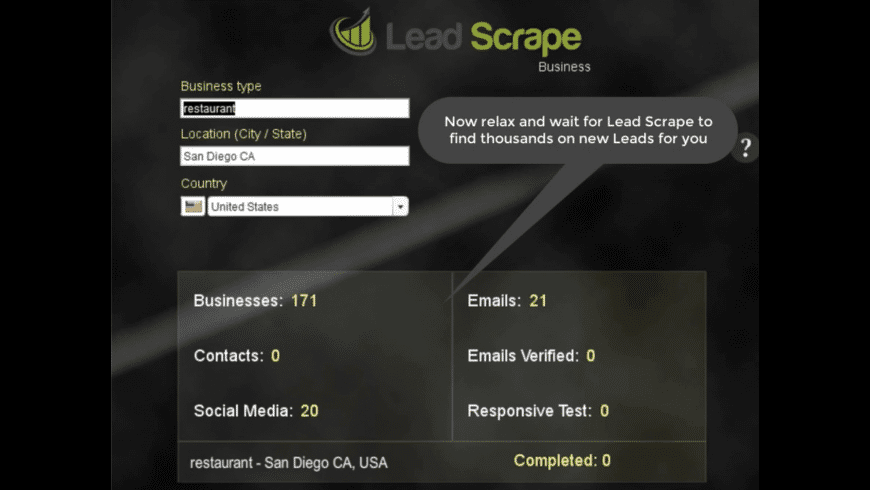 LeadScrape for Mac - review, screenshots