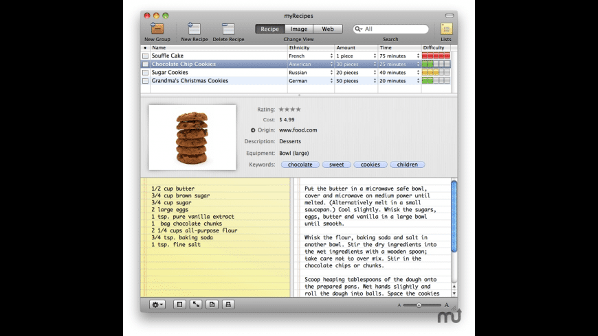 myRecipes for Mac - review, screenshots