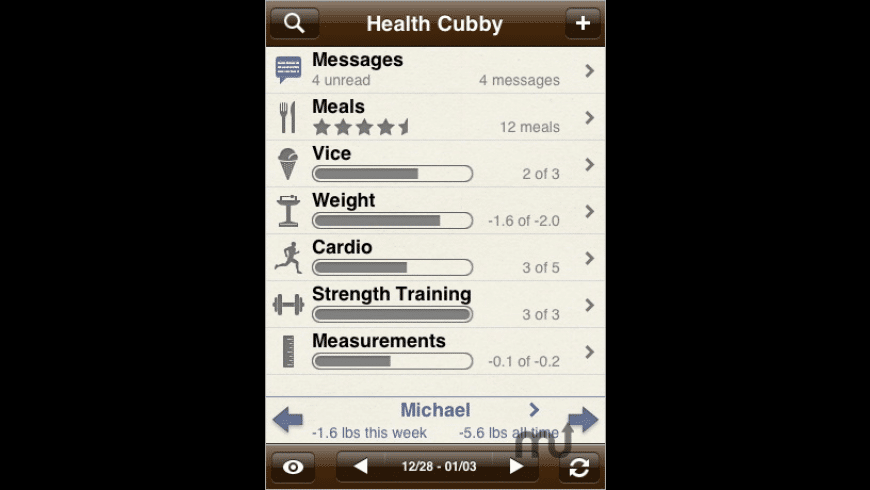Health Cubby - Social Fitness for Mac - review, screenshots
