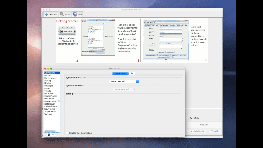 JMRI: DecoderPro for Mac - review, screenshots