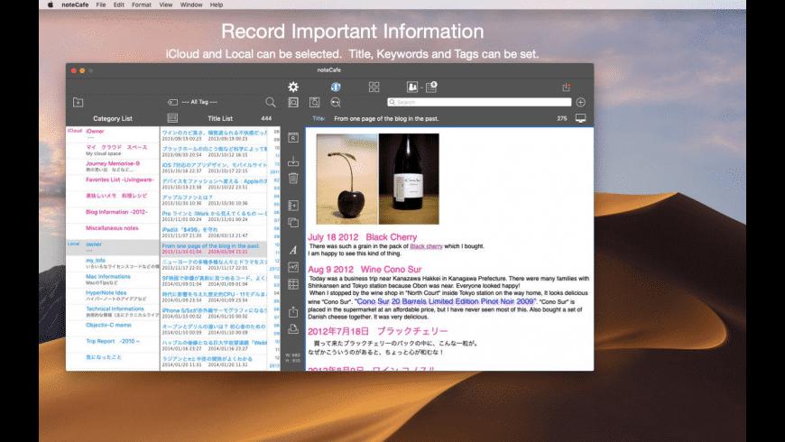 noteCafe for Mac - review, screenshots