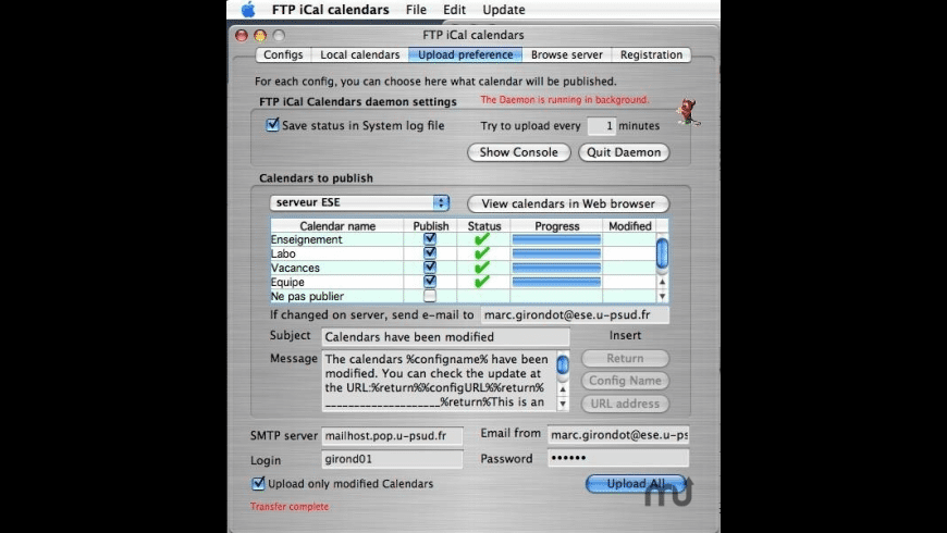 FTP iCal Calendars for Mac - review, screenshots