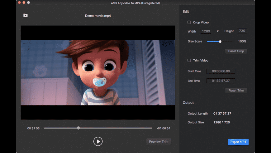 AMS Any Video To MP4 for Mac - review, screenshots