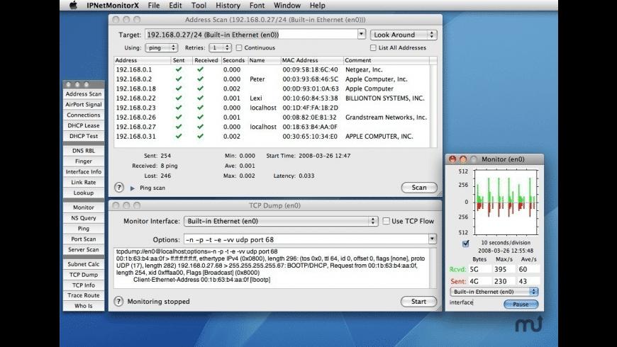IPNetMonitorX for Mac - review, screenshots