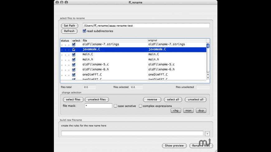 ff_rename for Mac - review, screenshots