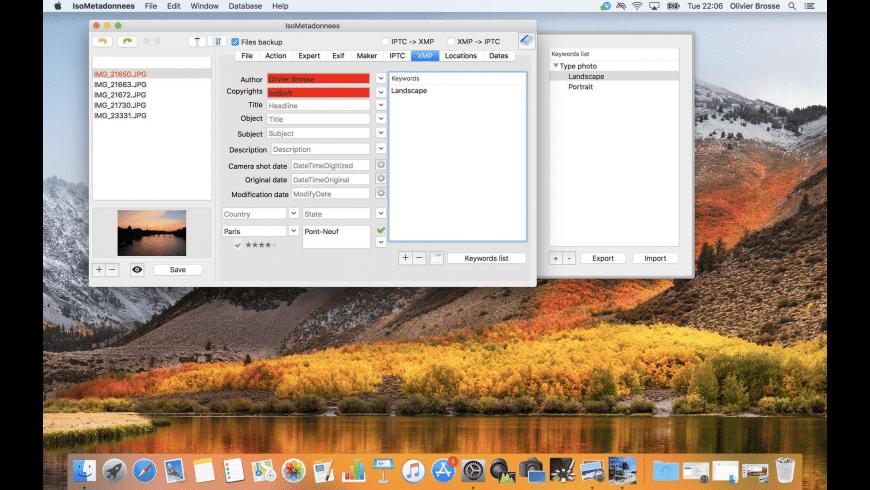 IsoMétadonnées for Mac - review, screenshots
