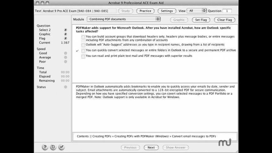 Adobe Acrobat 9 Professional ACE Exam Aid for Mac - review, screenshots