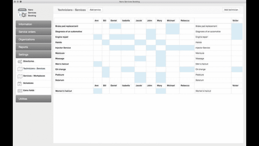 Nano Services Booking for Mac - review, screenshots