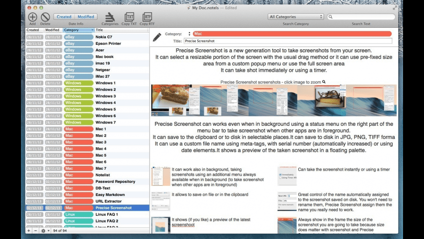 NoteList for Mac - review, screenshots