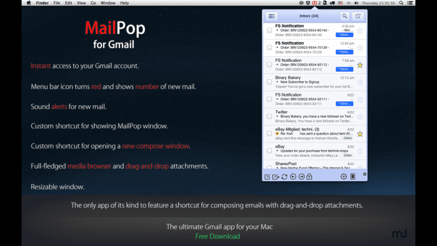 MailPop for Gmail for Mac - review, screenshots