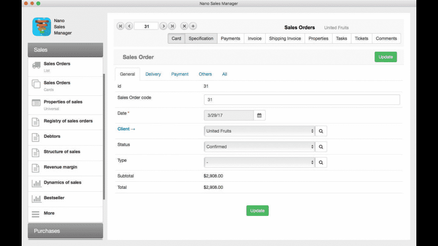 Nano Sales Manager for Mac - review, screenshots