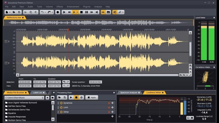 Acoustica for Mac - review, screenshots