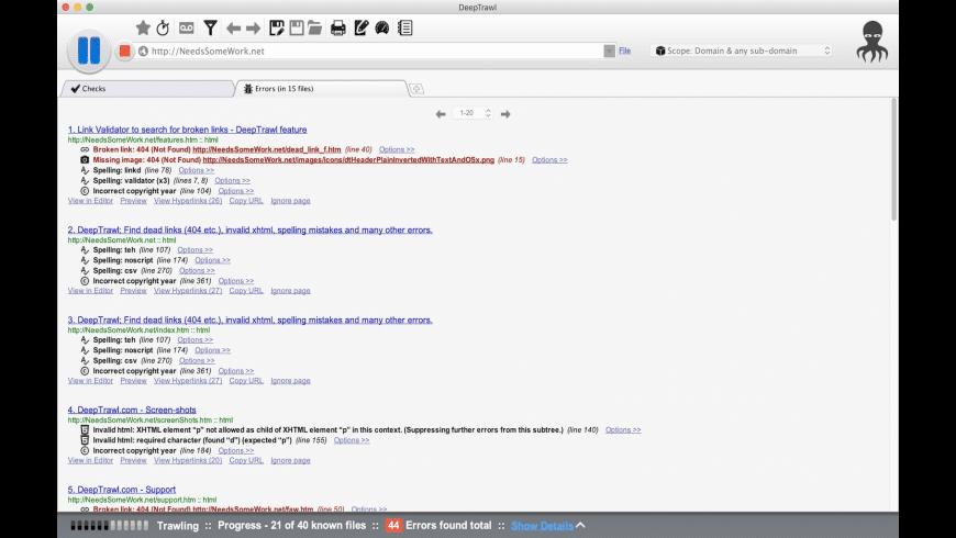 DeepTrawl for Mac - review, screenshots