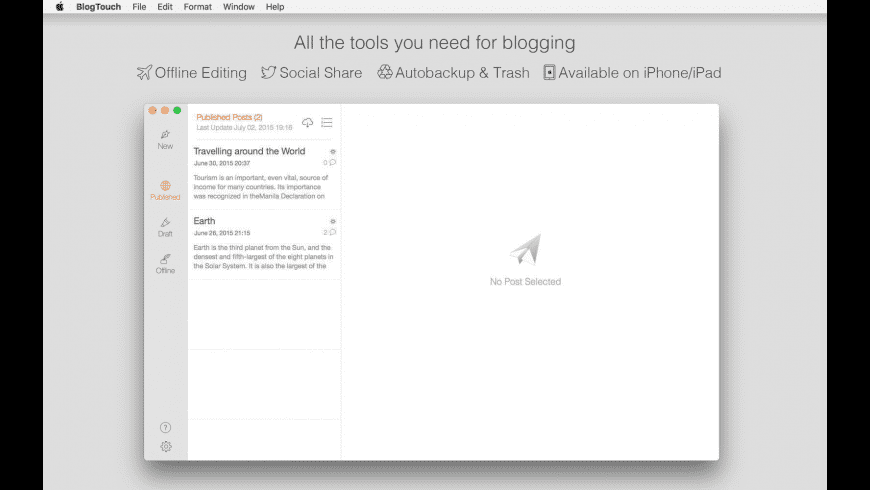 BlogTouch for Blogger for Mac - review, screenshots