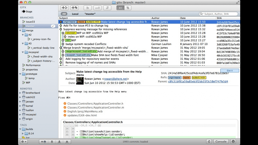 GitX for Mac - review, screenshots