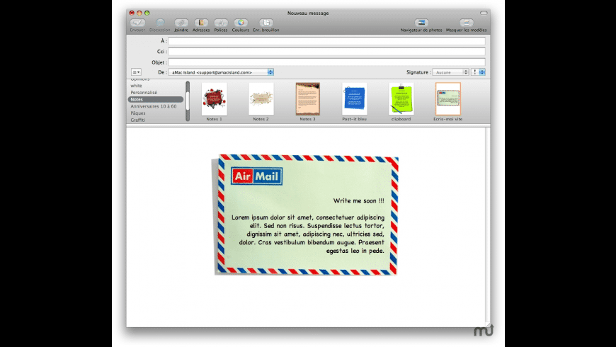 Notes Stationery Pack for Mail for Mac - review, screenshots