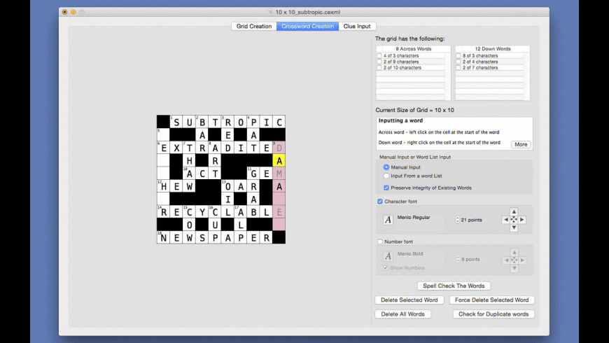 Crossword Editor for Mac - review, screenshots