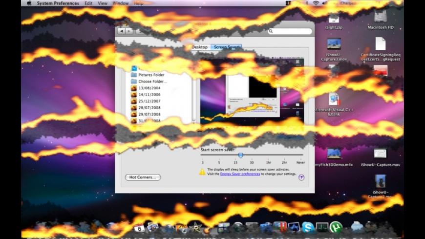 Burning Desktop Screen Saver for Mac - review, screenshots