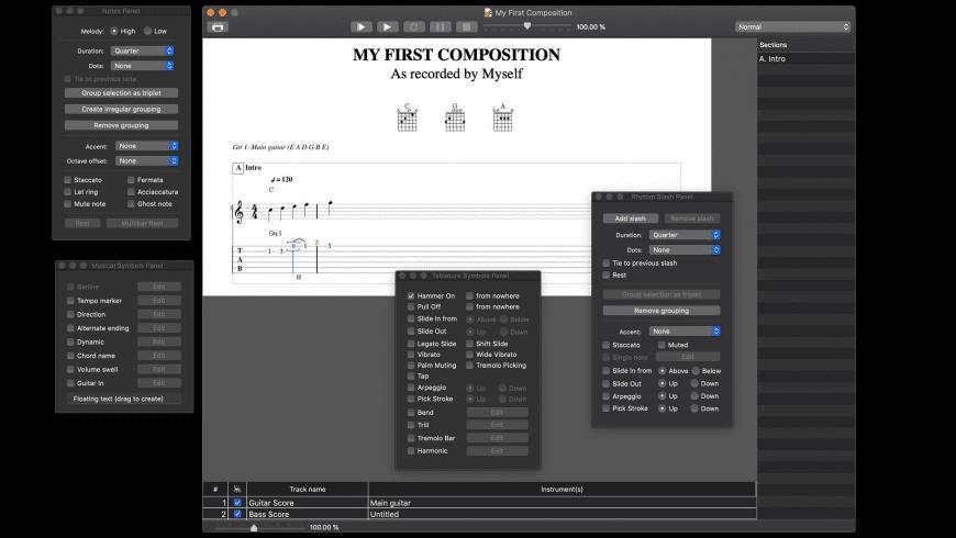 Tablatures for Mac - review, screenshots