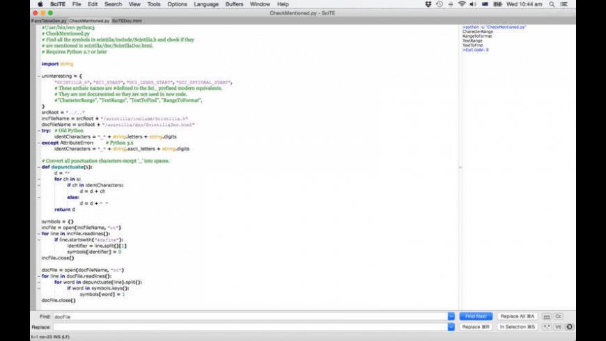SciTE for Mac - review, screenshots