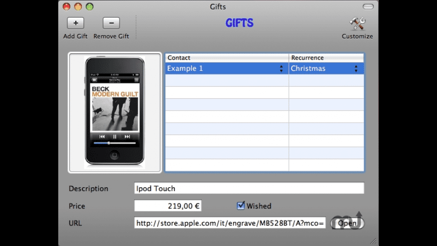 BirthDays & Gifts for Mac - review, screenshots