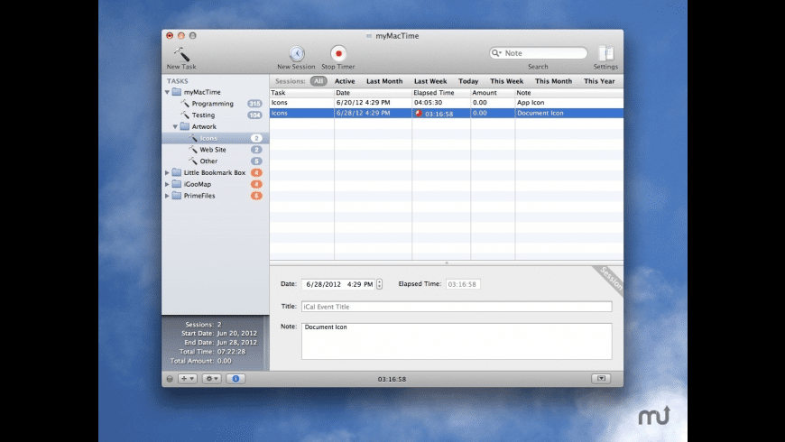 myMacTime for Mac - review, screenshots