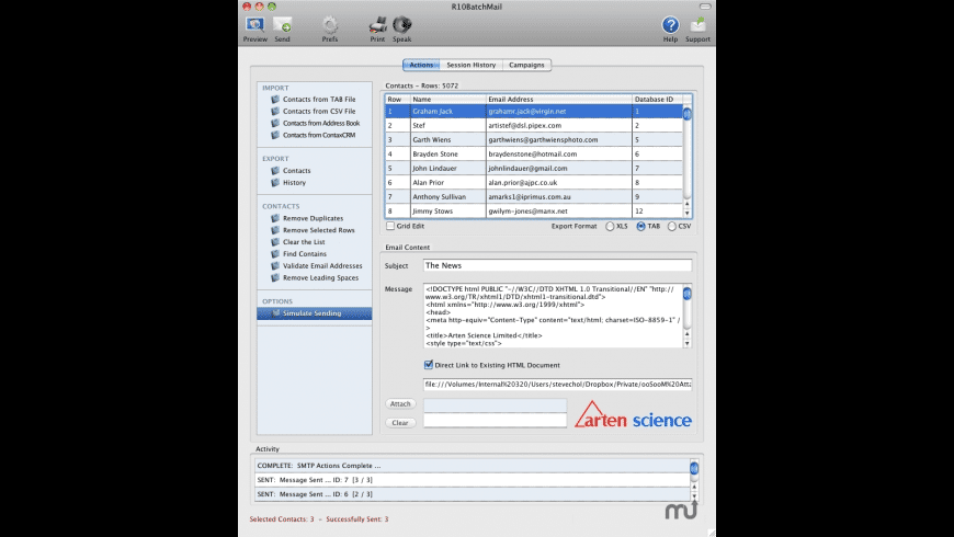 R10BatchMail for Mac - review, screenshots