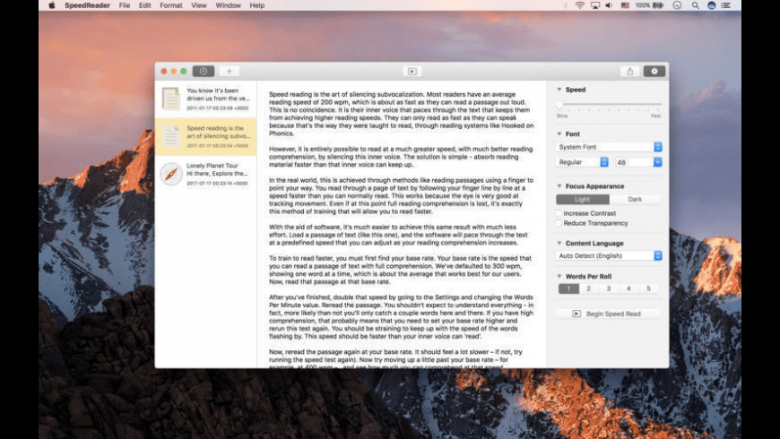Speed Reader for Mac - review, screenshots