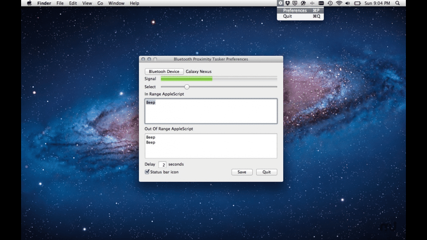 Bluetooth Proximity Tasker for Mac - review, screenshots