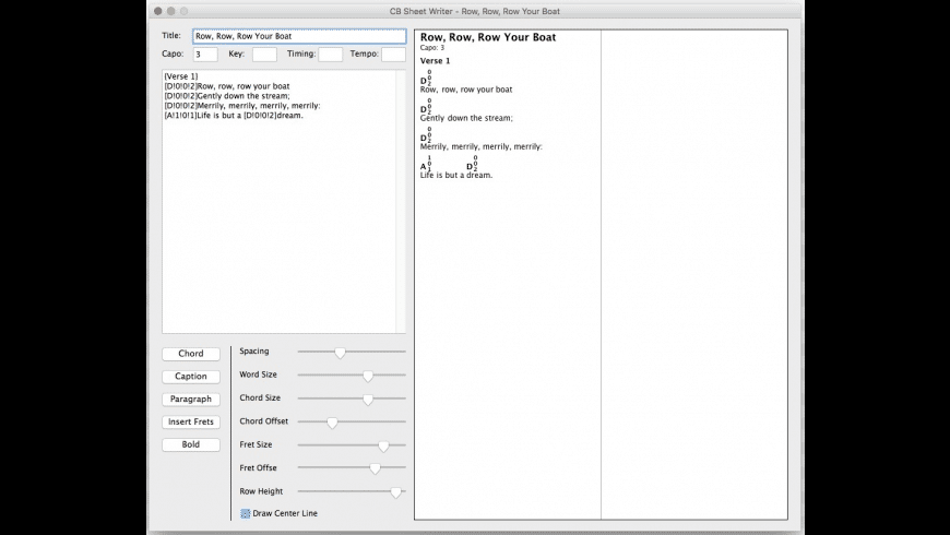 CB Sheet Writer for Mac - review, screenshots