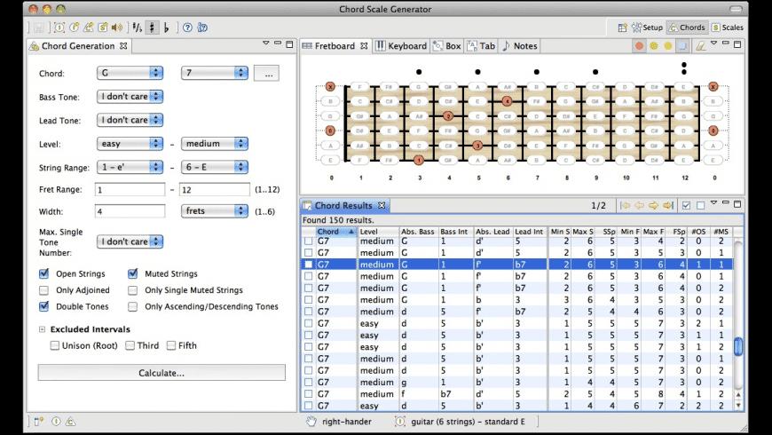 Chord Scale Generator for Mac - review, screenshots