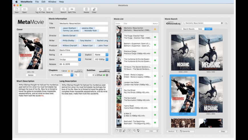 MetaMovie for Mac - review, screenshots