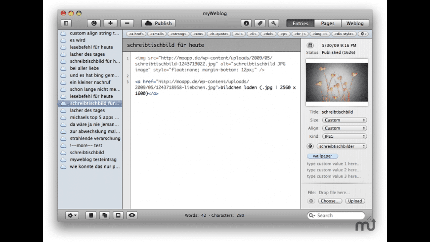 myWeblog for Mac - review, screenshots